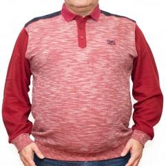 Bluza groasa rosie cu imprimeu si cu guler