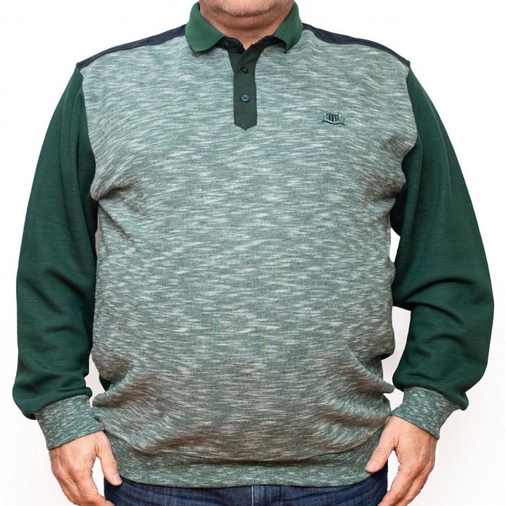 Bluza groasa verde cu imprimeu si cu guler - XXLBigSize