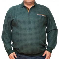 Bluza groasa verde cu imprimeu si cu guler 2XL-6XL