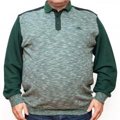 Bluza groasa verde cu imprimeu si cu guler