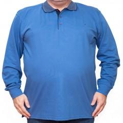 Bluza subtire albastra cu guler - XXLBigSize