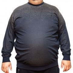 Bluza subtire bleumarin cu imprimeu la baza gatului