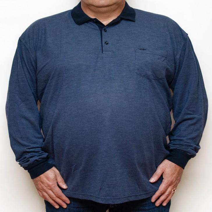 Bluza subtire bleumarin cu insertii albastre si cu guler - XXLBigSize