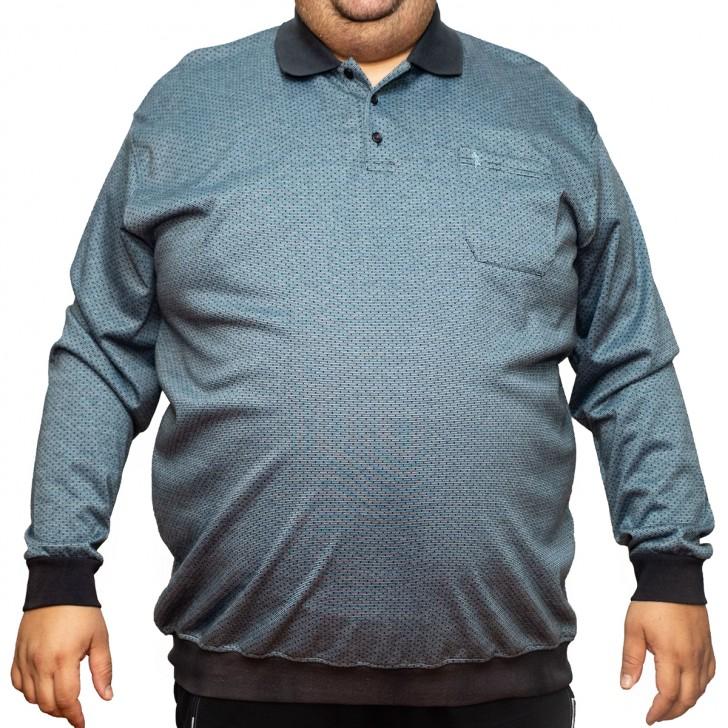 Bluza subtire gri cu guler 2XL-6XL