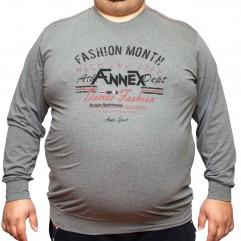 Bluza subtire gri cu imprimeu la baza gatului