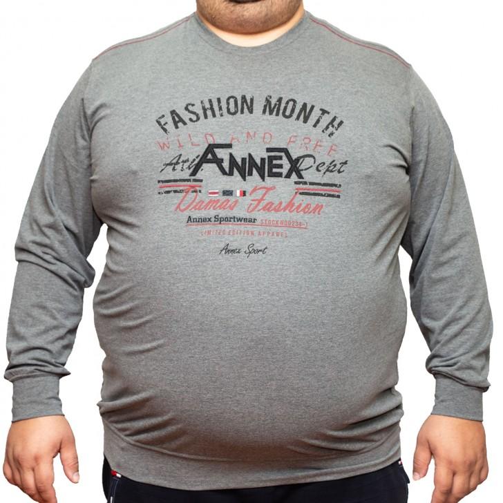 Bluza subtire gri cu imprimeu la baza gatului 2XL-6XL