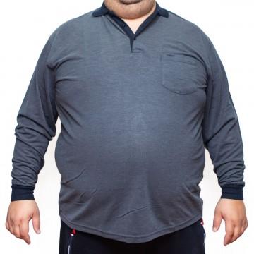 Bluza subtire gri cu imprimeu si cu guler