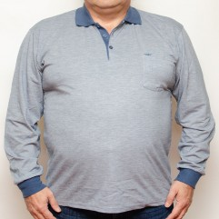 Bluza subtire gri cu insertii blumarin si cu guler - XXLBigSize