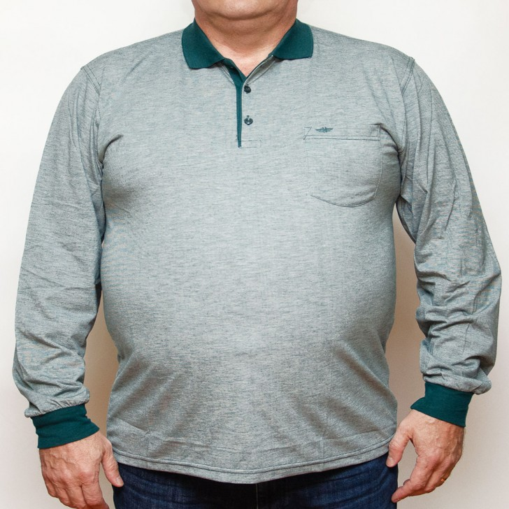 Bluza subtire gri cu insertii verzi si cu guler 3XL-6XL
