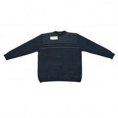Pulover bleu cu imprimeu de iarna la baza gatului - XXLBigSize