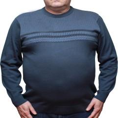 Pulover bleu cu imprimeu de iarna la baza gatului