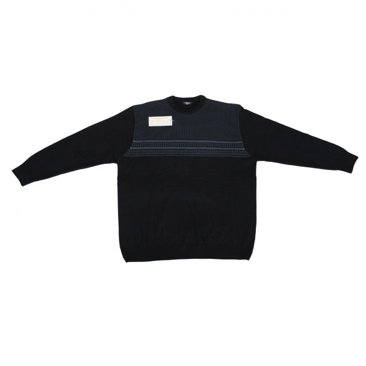 Pulover negru cu imprimeu de iarna la baza gatului 3XL-6XL