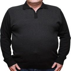 Pulover negru cu imprimeu si cu guler