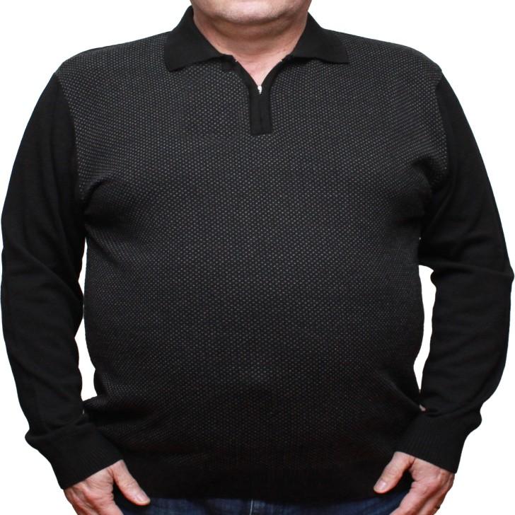 Pulover negru cu imprimeu si cu guler 3XL-6XL