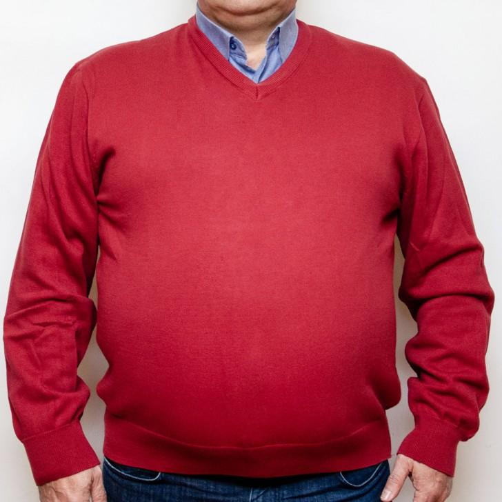Pulover rosu caramiziu cu anchior - XXLBigSize