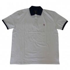 Tricou alb cu guler 2XL-6XL