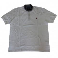 Tricou alb cu guler tunica