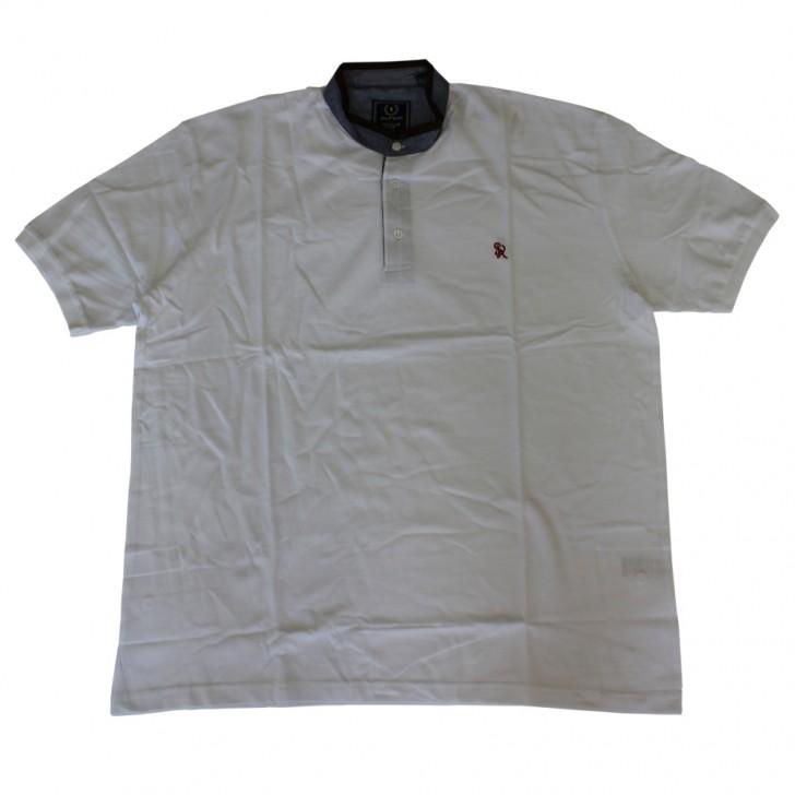 Tricou alb cu guler tunica - XXLBigSize