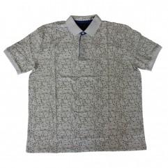 Tricou alb cu imprimeu si cu guler - XXLBigSize