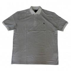 Tricou alb cu imprimeu si cu guler