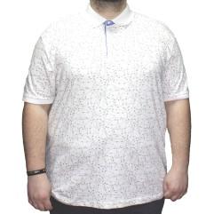 Tricou alb cu imprimeu si cu guler 2XL-9XL