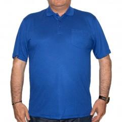 Tricou albastru cobalt cu guler si buzunar - XXLBigSize