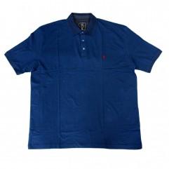 Tricou albastru cu guler