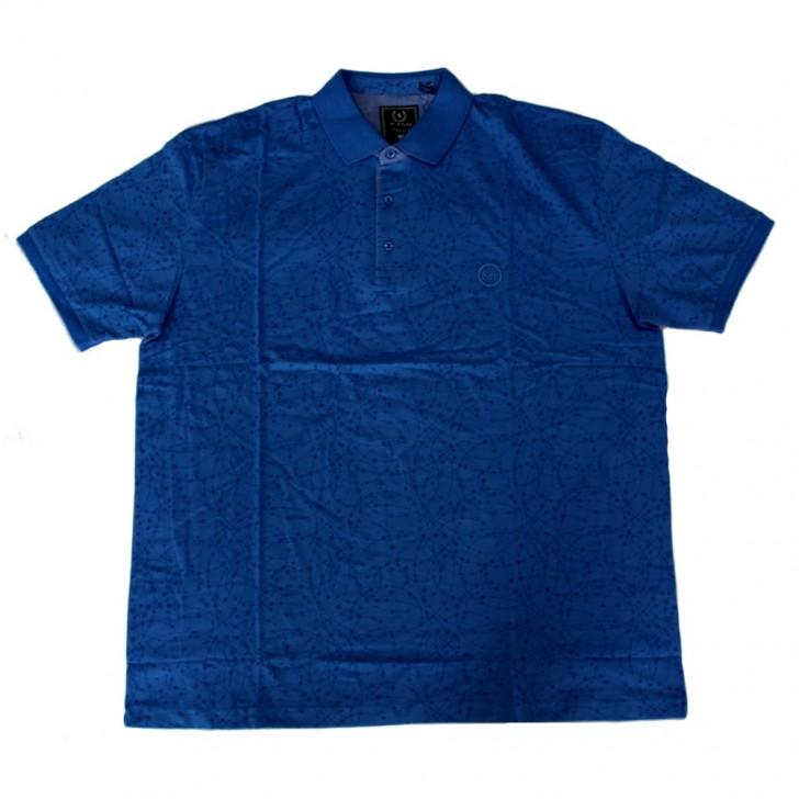 Tricou albastru cu imprimeu si cu guler - XXLBigSize