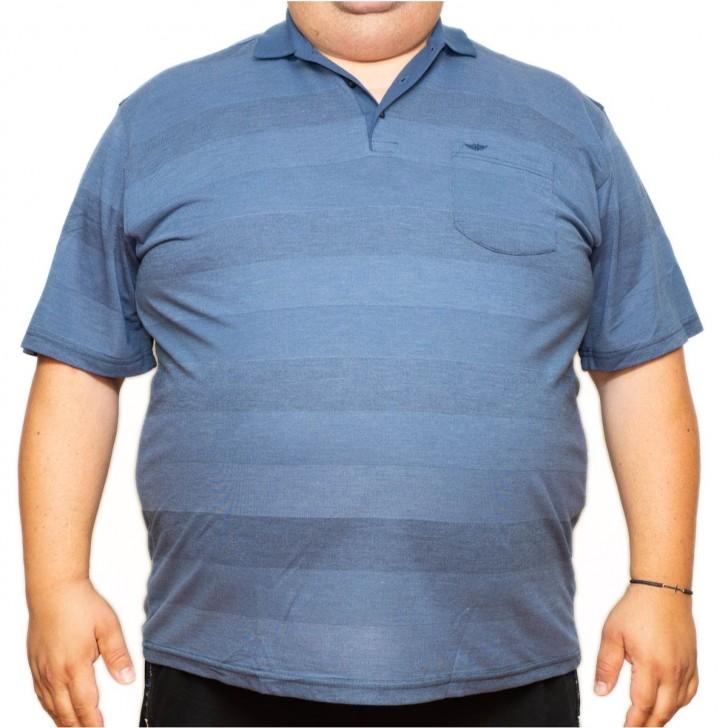 Tricou albastru in dungi cu guler 70-112 xxlbigsize