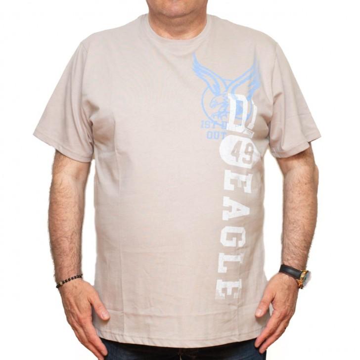 Tricou bej cu imprimeu la baza gatului 70-119 xxlbigsize