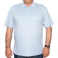Tricou bleu cu guler - XXLBigSize