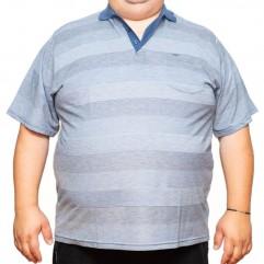 Tricou bleu-gri in dungi cu guler 70-110 xxlbigsize