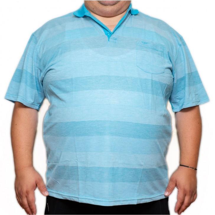 Tricou bleu in dungi cu guler - XXLBigSize