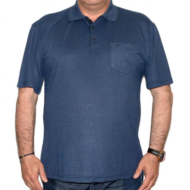 Tricou bleumarin cu guler - XXLBigSize