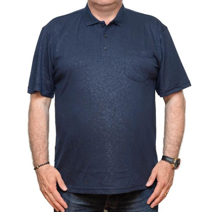Tricou bleumarin cu imprimeu si cu guler - XXLBigSize