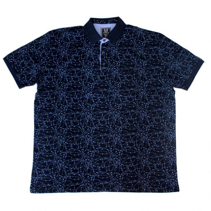 Tricou bleumarin cu imprimeu si cu guler 2XL-6XL
