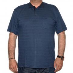 Tricou bleumarin in dungi cu guler - XXLBigSize