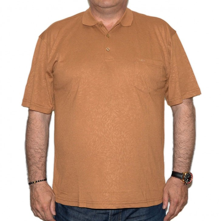Tricou camel cu imprimeu si cu guler - XXLBigSize