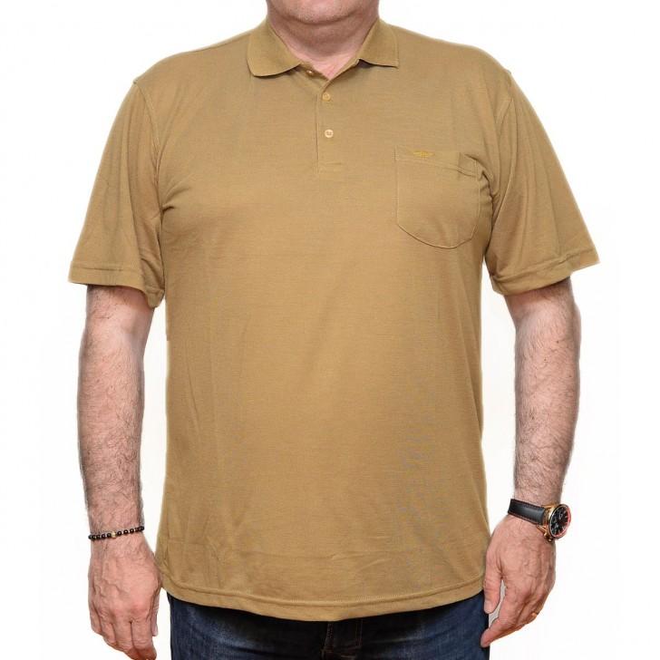 Tricou galben mustar cu guler - XXLBigSize