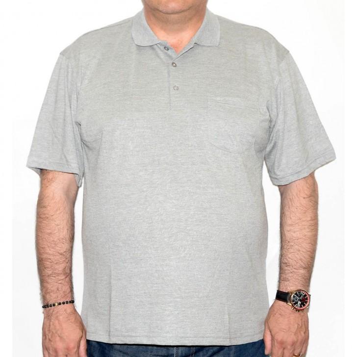 Tricou gri cu guler - XXLBigSize