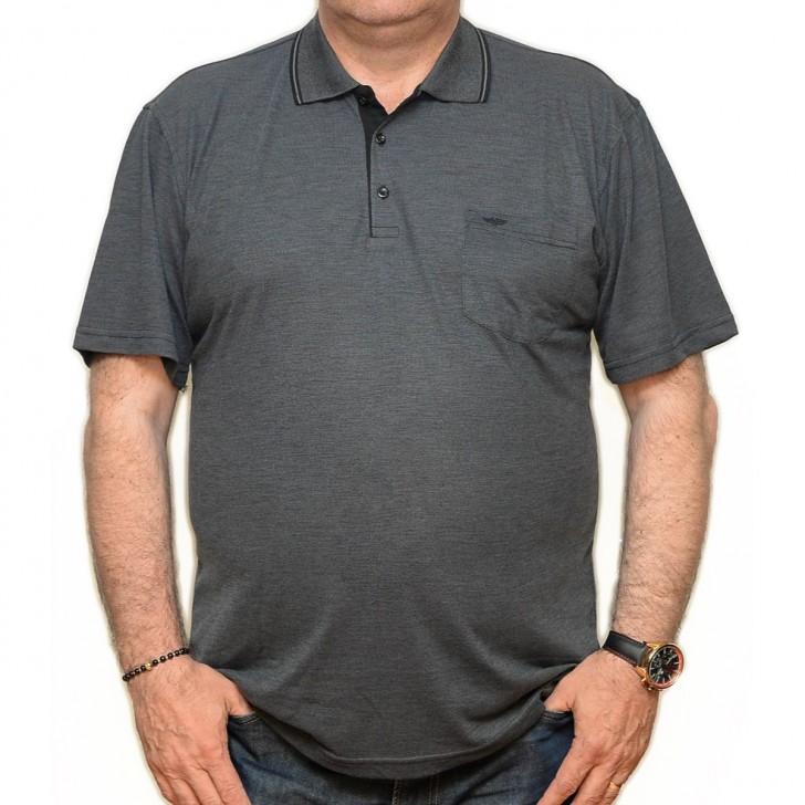 Tricou gri inchis cu imprimeu si cu guler - XXLBigSize