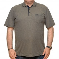 Tricou mustar inchis cu imprimeu si cu guler - XXLBigSize
