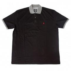 Tricou negru cu guler 2XL-6XL