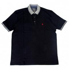 Tricou negru cu guler