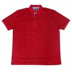 Tricou rosu cu imprimeu si cu guler - XXLBigSize
