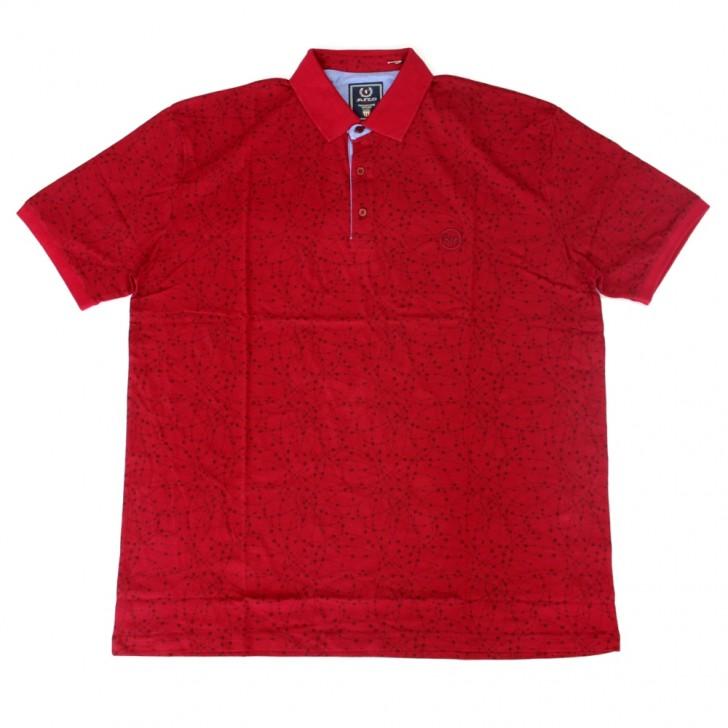 Tricou rosu cu imprimeu si cu guler 2XL-9XL