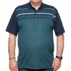 Tricou verde-bleumarin in dungi cu guler - XXLBigSize