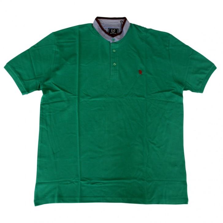 Tricou verde cu guler tunica - XXLBigSize