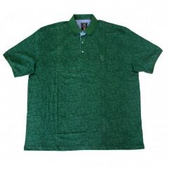 Tricou verde cu imprimeu si cu guler - XXLBigSize