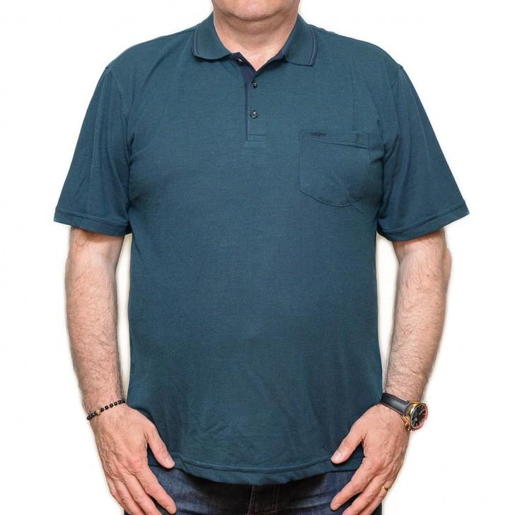 Tricou verde inchis cu guler - XXLBigSize